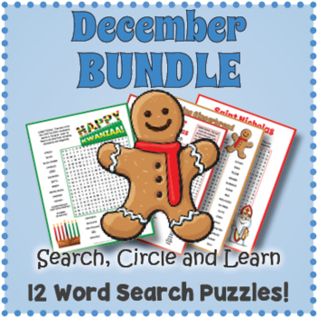 December Word Search Puzzle Bundle