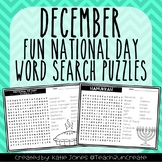 December Word Search Puzzles