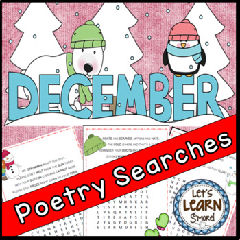 December Poetry, Word Searches, Winter Theme, With Original Poetry
