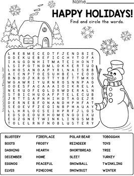 December Word Searches - Intermediate