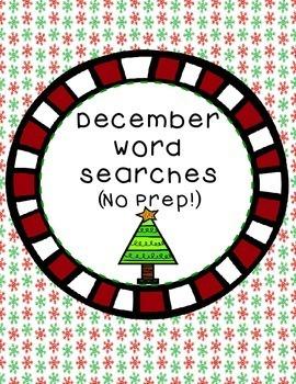 December Word Searches (No Prep!)