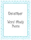 December Word Study Menu