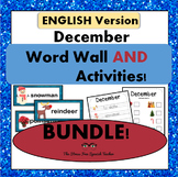 December Word Wall Cards AND activities! {English Version}