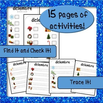 December Word Wall Cards AND activities! {Spanish Version}