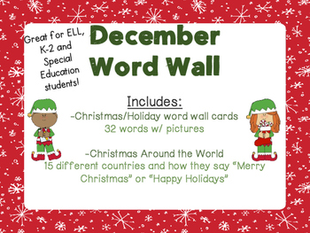 December word wall cards by adventures with miss k and the firsts december word wall cards m4hsunfo