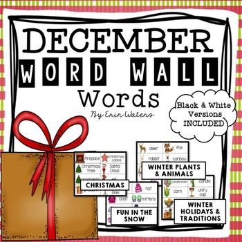 December Thematic Word Wall Words {145 Words for Winter Holidays, Snow, & More!}