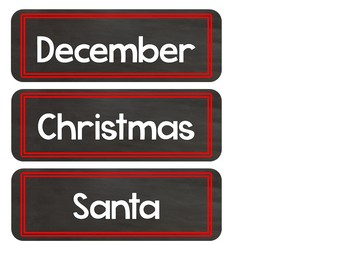 December Word Wall Words (Chalkboard Labels Decor Add On)