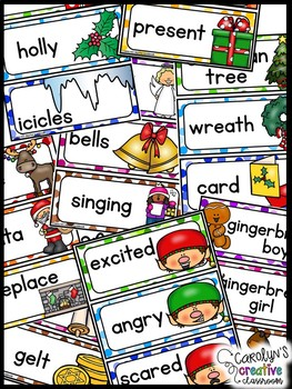 December Word Wall Words - Holidays Around the World, Gingerbread Cards