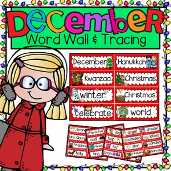 Word Wall and Tracing: December (Christmas Winter Seasons