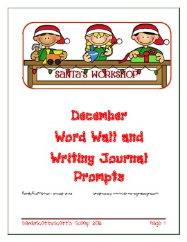 December Word Wall and Writing Journal Prompts