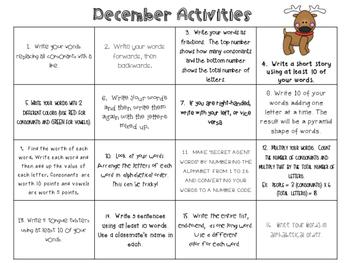December Word Work Activities