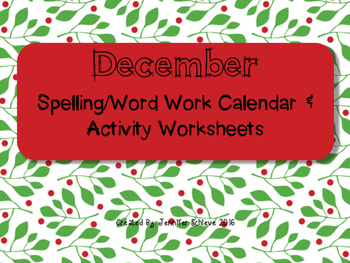 December Word Work Activities