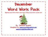 December Word Work Activities Pack