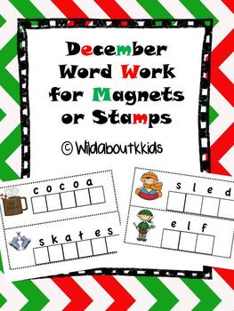 December Word Work for Magnets or Stamps