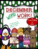 December Word Work (printables for the class)