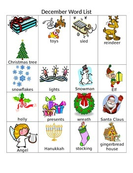 December Word and Picture Chart