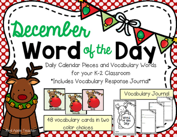 December Word of the Day--Calendar Pieces for Your K-2 Class