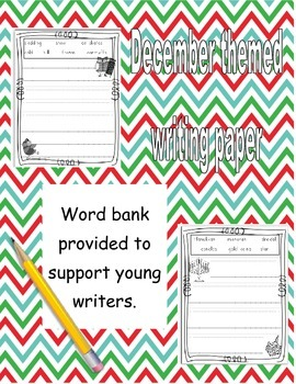December Work on Writing paper with word boxes