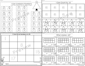 December Worksheets for Kindergarten