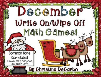 December Write On Wipe Off Math Games Common Core Correlated