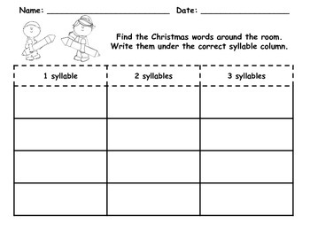 December Write the Room Syllable Sort