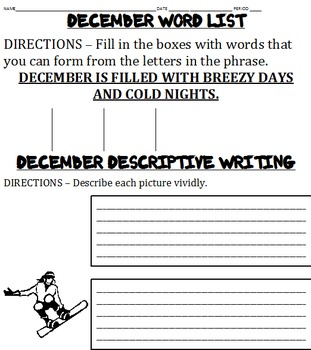 December Writing Activities and More -- 14 worksheets