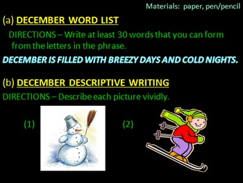 December Writing Activities and More Power Point Version -- 13 activity slides