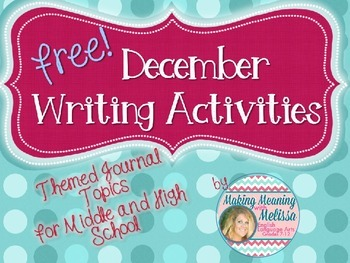 December Writing Activities for Middle and High School