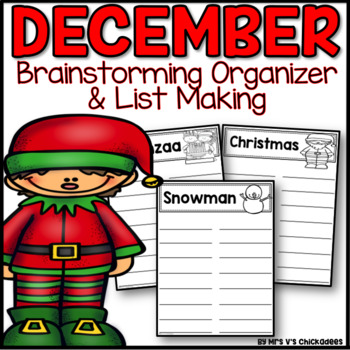 December Writing Activity: Brainstorming Organizer and List Making Paper