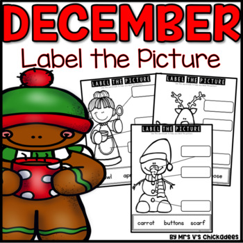 December Writing Activity: Labeling Pictures Using a Word Bank