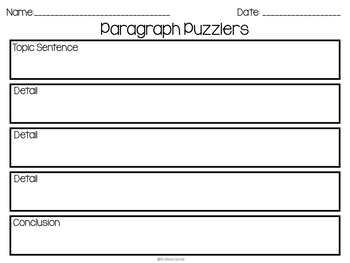 December Writing Activity: Paragraph Puzzlers