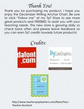 December Writing Anchor Chart
