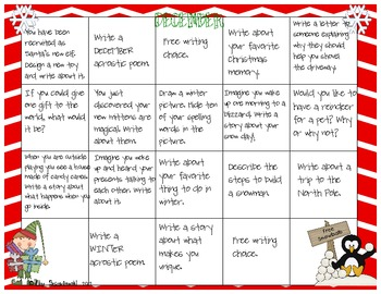 December Writing Calendar