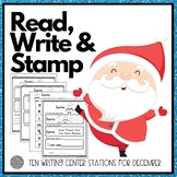 December Writing Centers: Read, Write and Stamp! Set One