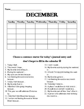 December Writing Journal Cover Page- Blank Calendar and Sentence Starters :)