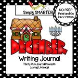 December Writing Journal:  NO PREP Journal Prompts