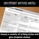 December Writing Menu, Holiday Writing Assignments, Human Rights Day
