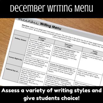 December Writing Menu, Holiday Writing Assignments, Human Rights Day