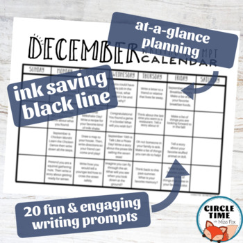 December Writing Prompts Winter NO PREP Daily Journal