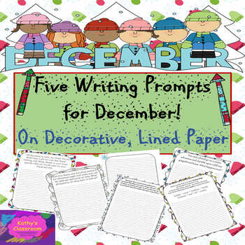 December Writing Prompts - 5 Christmas/Winter Prompts on Decorative Paper
