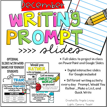 December Writing Prompts: A PAPERLESS Resource Compatible w/Google Slides & PPT