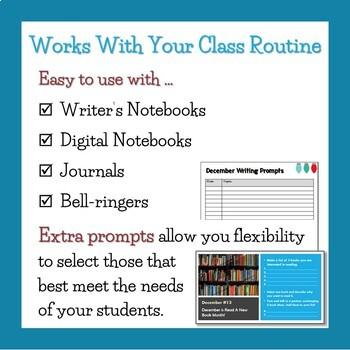 December Writing Prompts (Bell work / Buzzers / Journal)