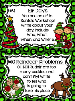 December Writing Prompts and Center- (Common Core Aligned)