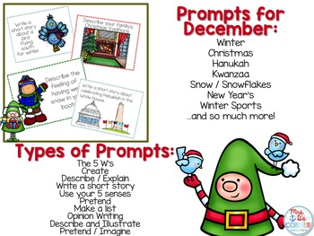 December Photo Writing Prompt Task Cards