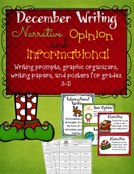 December: Writing Prompts, Graphic Organizers, Papers, and Posters