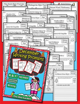 December Writing Prompts NO PREP (Kindergarten and First)