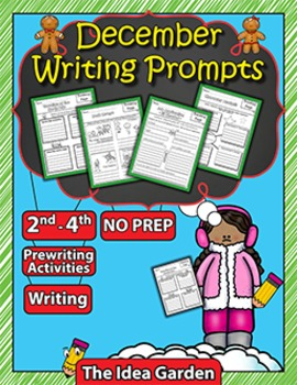 December Writing Prompts NO PREP (Second-Fourth)