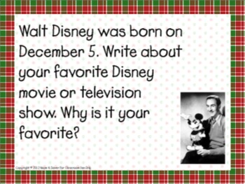 December Writing Prompts for Interactive Whiteboard and Literacy Centers
