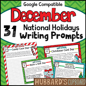 December Writing Prompts for National Holidays w/ Google Classroom Option