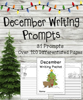 December Writing Prompts on Differentiated Themed Paper